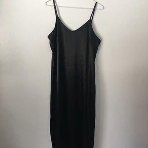 Rachel Zoe black silky side slit slip maxi dress